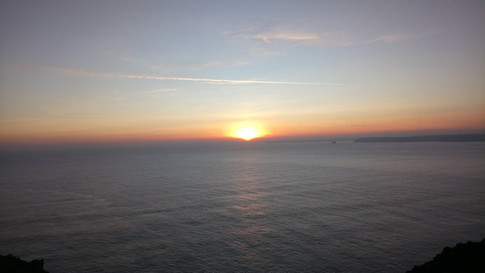 The sunset from the end of the Roseland Heritage Coast