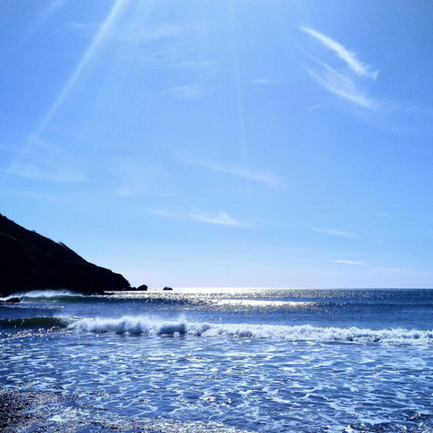 A beautiful day on Hemmick Beach, a short walk from the campsite