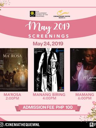 MA'ROSA and MAMANG screens at Cinemathque Centre Manila