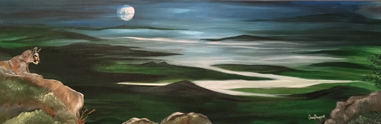 """Mountain view 12"""" by 36"""" rendered in Acrylic"""