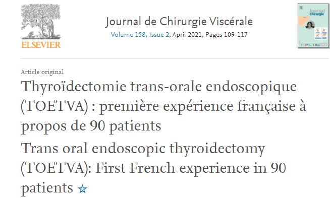 PUBLICATION THYROIDECTOMIE TRANS ORALE SANS CICATRICE CERVICALE VISIBLE