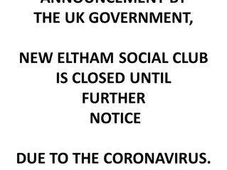 Coronavirus Update - New Eltham Social Club