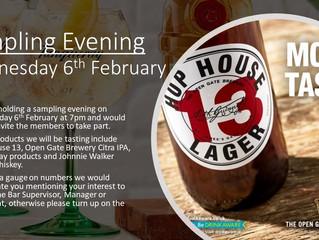 Wed 6th Feb - Sampling Evening