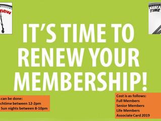 Membership Renewals are Due