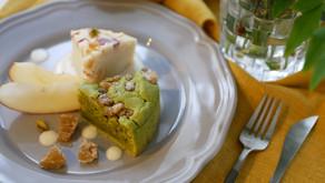Matcha & marron glace cake & apple & almond cake (vegan) / 抹茶とマロングラッセのケーキとリンゴとアーモンドのケーキ (ヴィーガン)