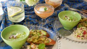 """Four dishes for summer buffet / 夏のビュッフェスタイルに四つのプレートで"