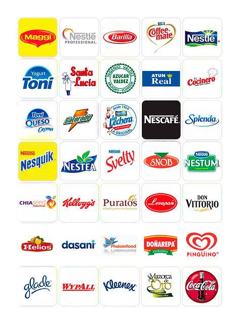 Maggi Nestle Barillan Coffee-mate Nestle, Yogurt Toni, Santa Lucia, Azucar Valdez, Atun Real, El cocinero, Toni Queso, Gatorade, La lechera, Nescafe, Splenda, Nesquik, Nestea, Svelty, Snob, Nestum, Chiaseed, kelloggs, Puratos, Levapan, DonVitorio, Dasani, Doñarepa, Pinguino, Glade, Wypall, Kleenex, Coca Cola,
