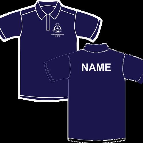 PE Ambassador Polo Shirt, navy with white contrast.