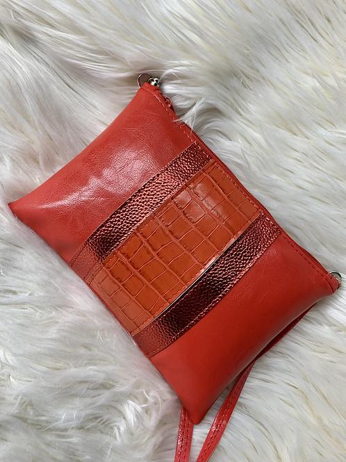 Pochette rouge avec bande