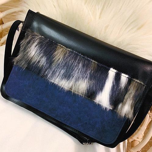Sac à bandoulière Tricolore Noir fausse fourrure et daim bleu