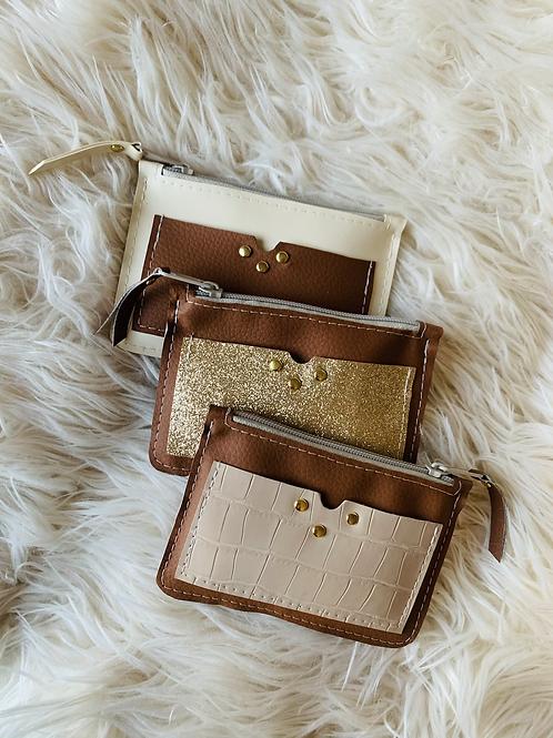 Portes monnaies plats avec poches couleur chamois