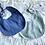 Thumbnail: Bavoir gaze de coton bleu vert clair