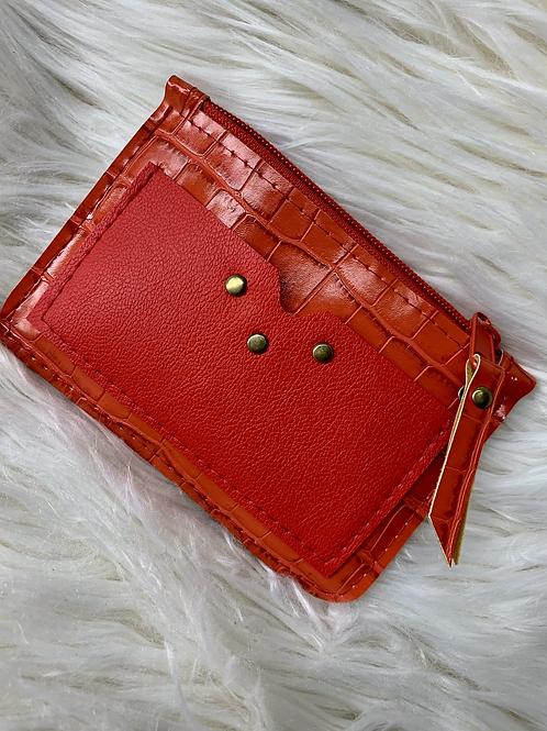 Porte monnaie rouge avec poche
