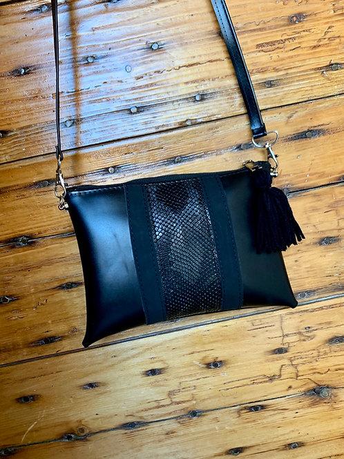 Pochette noir bande simili cuir python