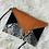 Thumbnail: Pochette enveloppe noir velour orange et simili cuir python