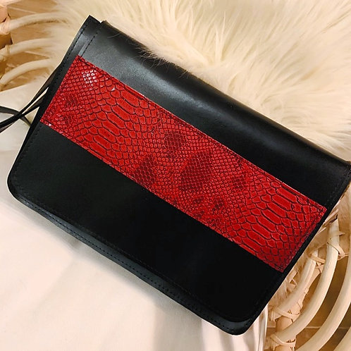Sac à bandoulière Noir et simili cuir Python rouge