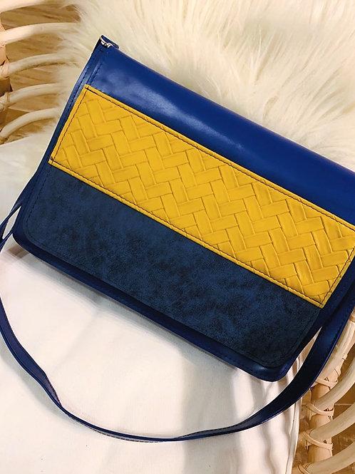 Sac à bandoulière tricolore Bleu Outremer, simili jaune et daim