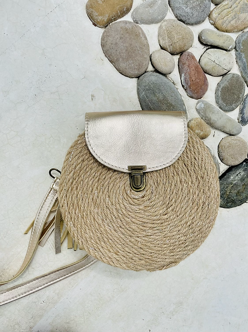 Petit sac en corde avec rabat en cuir or