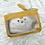 Thumbnail: Porte monnaie en cuir moutarde et doré