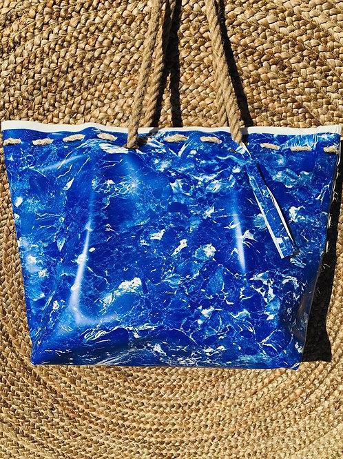 Sac de plage marbré bleu