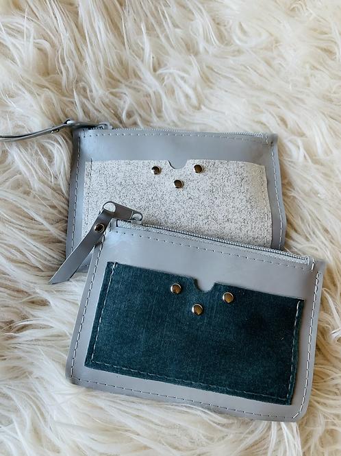 Portes monnaies plats avec poches tons gris