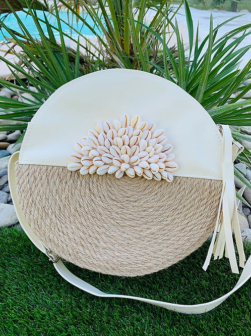 Sac rond sable corde & coquillages