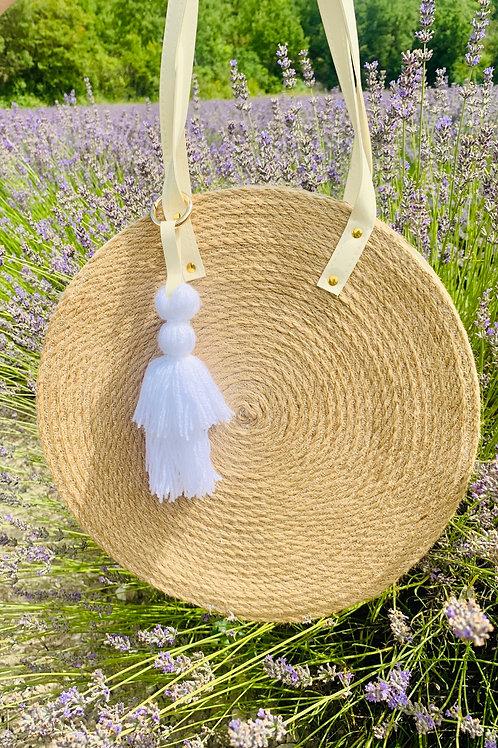 Grand sac rond en corde à pompons