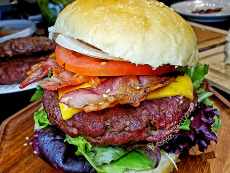 Charcoal Grill Bacon Cheese Burgers