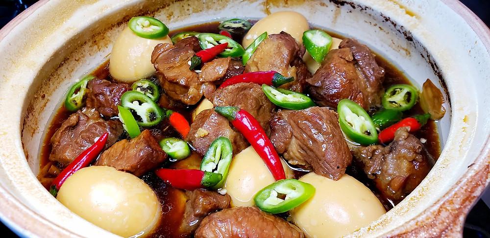 Caramelized Boneless Country Pork Ribs & Soft Boiled Eggs