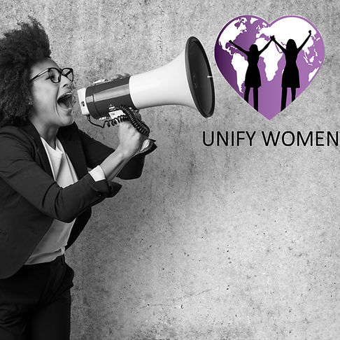 Women screaming from a microphone with Unify Women logo comming out
