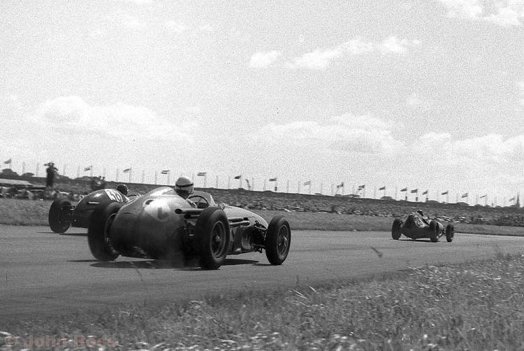 Aintree British Grand Prix | Roy Salvadori (Aston Martin DBR4), Graham Hill (Lotus 16), Jack Fairman (38 Cooper) - 1959