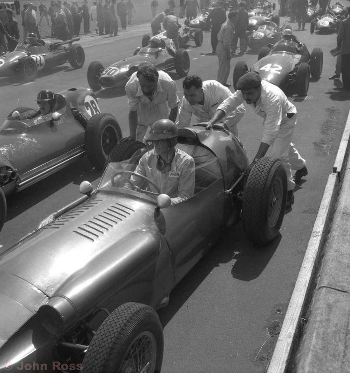 Aintree British Grand Prix | Graham Hill (28 Lotus), Harry Schell (4 BRM), Ian Burgess (22 Cooper), Alan Stacey (30 Lotus)