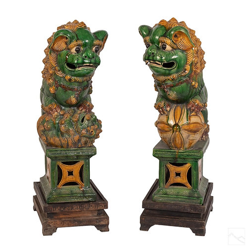 Monumental Pair of Sancai Foo Dogs from the Ming Dynasty