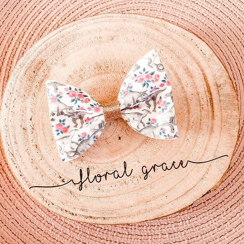 Floral dino bow
