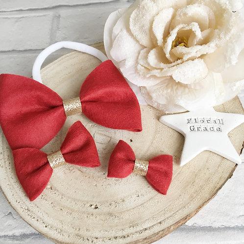 Red felt bow