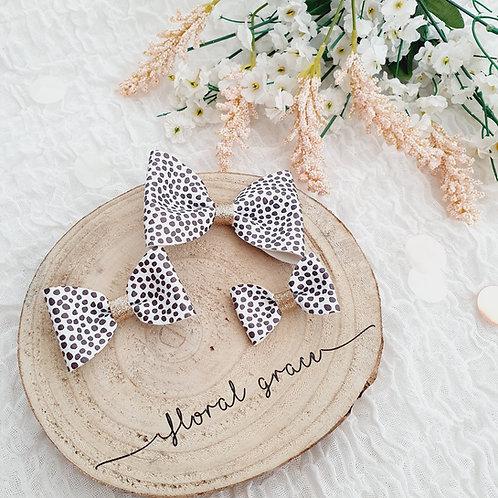 Dalmatian leatherette bow