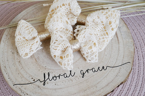 Cream crochet bow