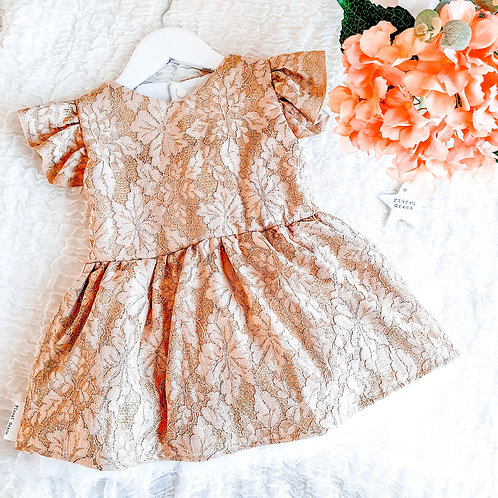 Premade: Gold lace dress 12-18m