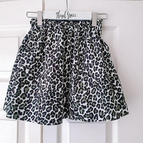 Leopard print corduroy skirt
