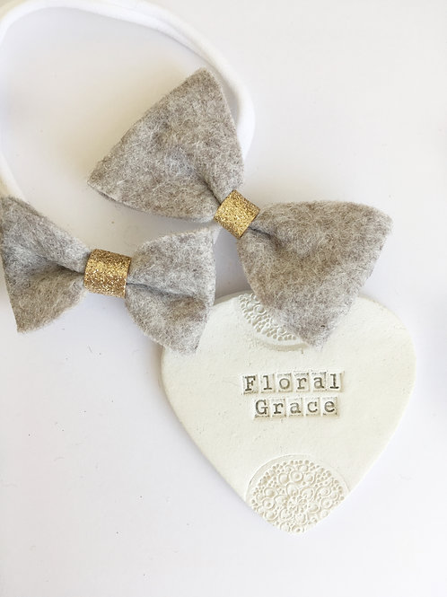 Felt Bow - Grey Marl