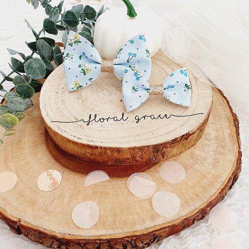 blue floral bow