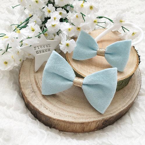 Baby blue felt bow