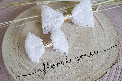 White crochet bow