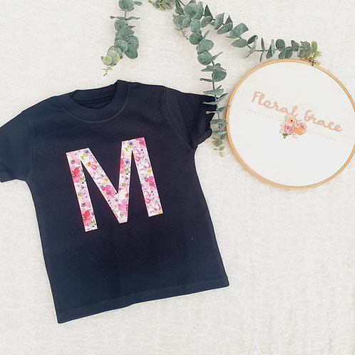 Floral initial t-shirt
