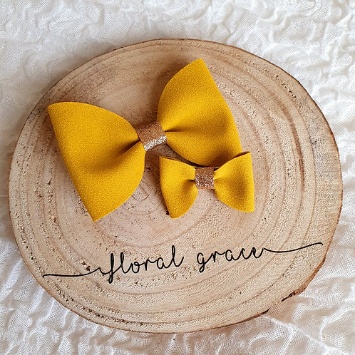 Ochre Suede bow