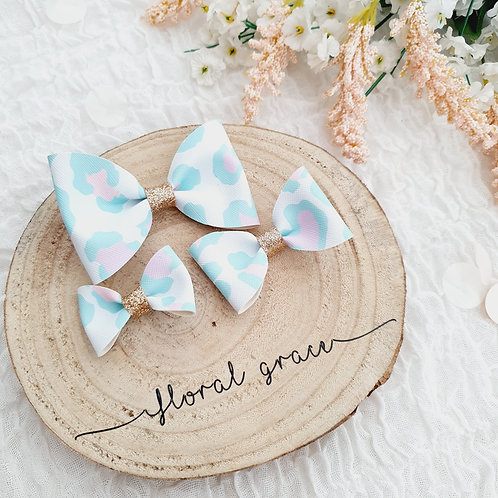 Spring leopard print leatherette bow