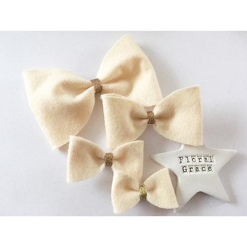 Felt Bow - Cream