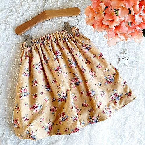 Corduroy Yellow Floral Skirt