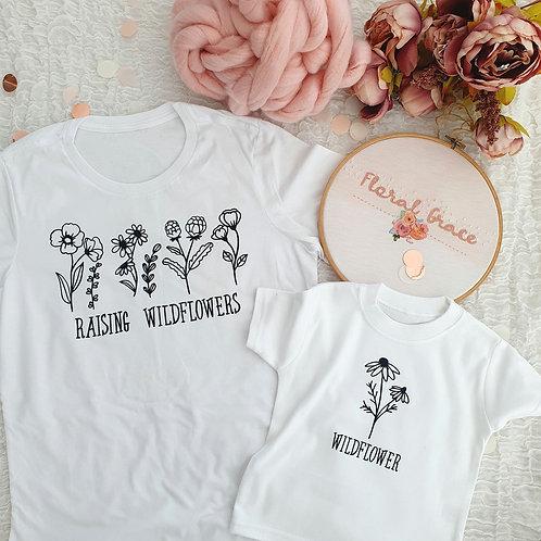 Wildflower mum and me t-shirts