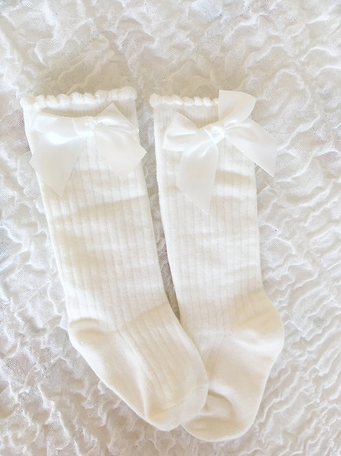 Cream socks with bow